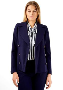 Closet London - Navy Double Breasted Button Collar Jacket