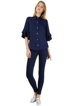 Closet London - Navy French Sleeve High Collar Blouse
