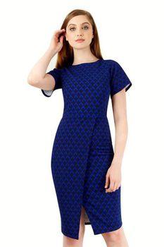 Closet London - Navy Geometric Print Front Split Dress