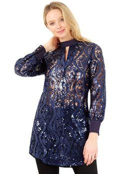 Closet London - Navy High Collar Long Sleeve Button Cuff Blouse