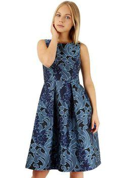 Closet London - Navy Jacquard Print V-Back Dress