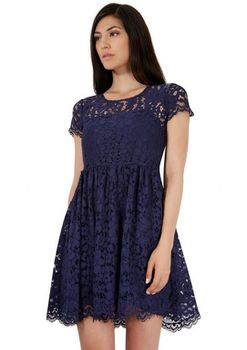 Closet London - Navy Lace Button Back Skater Dress