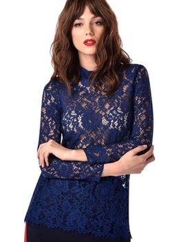 Closet London - Navy Lace Fitted Blouse with Collar
