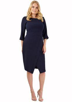 Closet London - Navy Long Sleeve Drape Skirt Dress