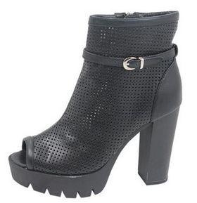 Ladies Perforated Peep Toe Chunky Heels - Black