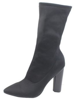 Pointed Toe Mid-Calf Fabric Booties - Black