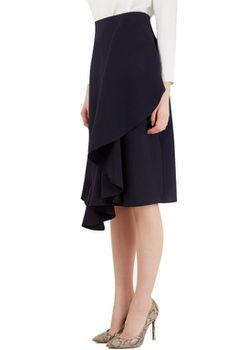 Closet London - Navy Ruffle Detail Skirt