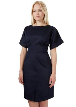 Closet London - Navy Satin Tie Dress