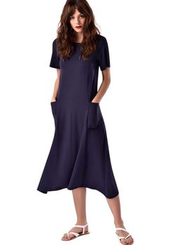 Closet London - Navy Seam Detail Side Pocket Dress