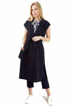 Closet London - Navy Sleeveless Collar Long Jacket