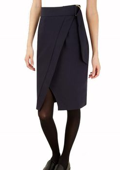 Closet London - Navy Wrap Skirt