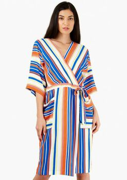 Closet London - Orange and Blue Stripe V-Neck Wrap Dress