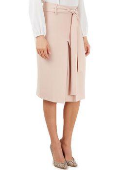 Closet London - Pale Pink Tie Belt Split Pencil Skirt