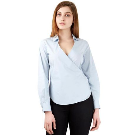 1a9aa542df2ae2 Closet London - Pale Tie Wrap Over Long Sleeve Blouse | Buy Online ...