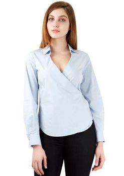 Closet London - Pale Tie Wrap Over Long Sleeve Blouse