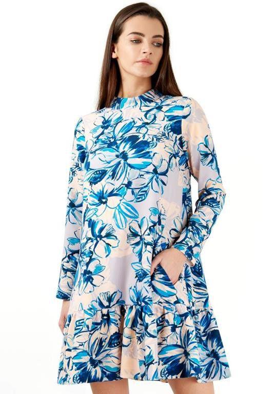 Closet London   Pep Hem Blue Floral Long Sleeved Dress ...
