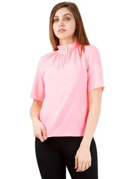 Closet London - Pink High Neck Zip Front Blouse