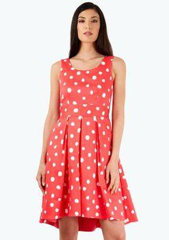 Closet London - Pink Polka Dot Tie Back Dress