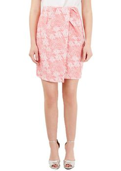 Closet London - Pink Wrap Jacquard Floral Pleated Skirt