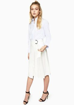 Closet London - Pleated A-Line Skirt With D-Ring Tie Waist