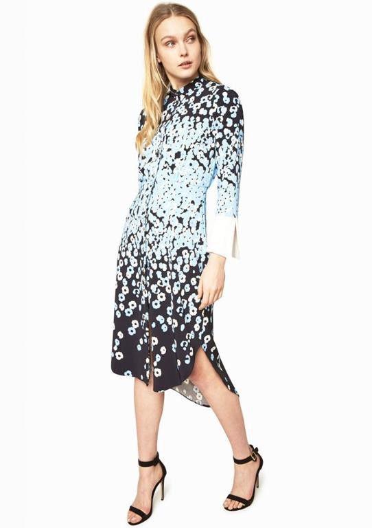 Closet London   Printed Wide Contrast Cuff Shirt Dress ...