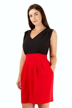 Closet London - Red 2 in 1 Tulip Skirt Dress