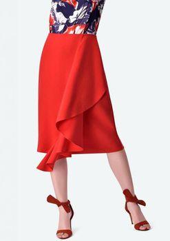 Closet London - Red Ruffle Detail Skirt