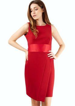 Closet London - Red Sleeveless Waistband Bow Tie Back Dress