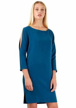 Closet London - Teal Split Shoulder Slouch Dress
