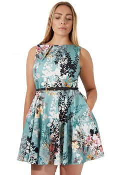 Closet London - Teal Spring Floral Skater Dress