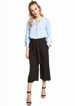 Closet London - Tie Neck Top With Flute Sleeves