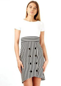 Closet London - White Black Stripe Double Button Detail Dress