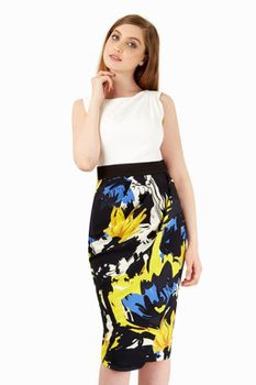 Closet London - Yellow Print Contrast Drape Skirt Dress