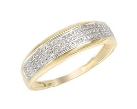 Miss Jewels 0.15ctw Natural Diamond Wedding Band In 10K Yellow Gold (Size: V 1/2)