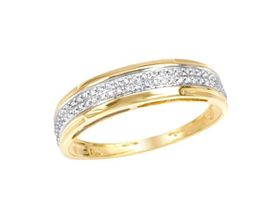 Miss Jewels 0.13ctw Natural Diamond Wedding Band In 10K Yellow Gold (Size: V 1/2)