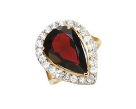 Miss Jewels 10K Yellow Gold 6.25ctw Topaz And Garnet Wedding Ring (Size: N 1/2)
