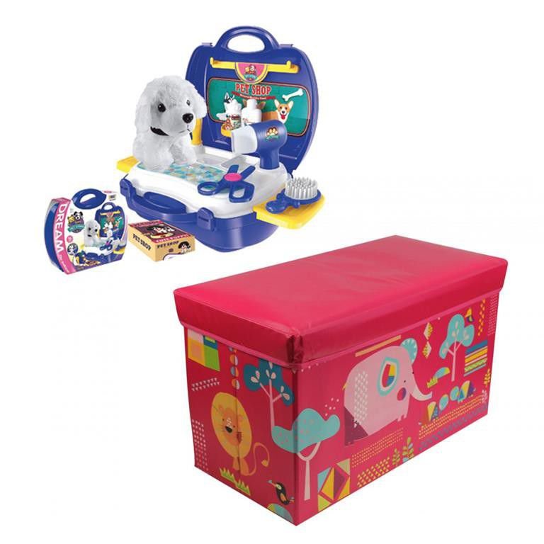 Kids Storage Ottoman Sweet Animals & Toy - Pet Puppy Suitcase. Loading zoom - Jeronimo Kids Storage Ottoman Sweet Animals & Toy - Pet Puppy