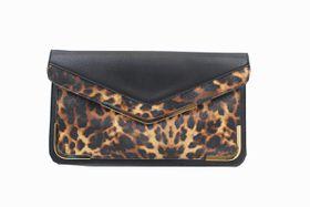 Blackcherry Black & Leopard Print Clutch Bag - Large