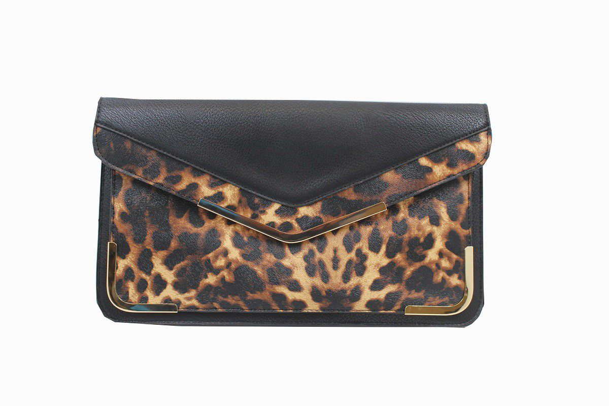 Blackcherry Black Leopard Print Clutch Bag Large