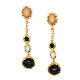 Tbe120 Yellow Gold Plated Multi Shaped Drop Earring