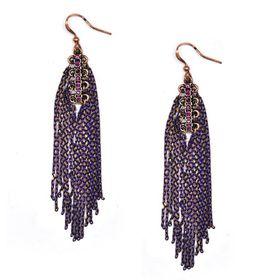 Bella Bella Tbe127 Rose Gold Coloured Earrings with Purple & Gold Chain Tasseles