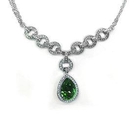 Bella Bella Silver Plated Elegant Emerald Coloured Neckpiece  (TBN030)