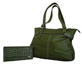 Fino Pu Leather Tote Handbag & weave Pu  Purse Set Nk7687+547-765 - Green