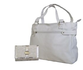 Fino Pu Leather Tote Handbag & Jacquard Purse Set Set Nk7687+M28-093 - White
