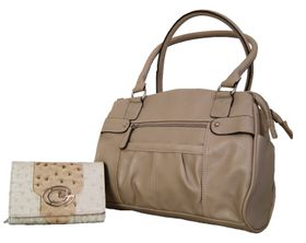 Fino Multi-Compartments Pu Leather Fashion Bag & 2 Tone Ostrich Leather Purse Set Po51441+3718-093