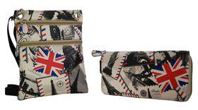 Fino Crossbody Sling Bag & Double Zipper Purse Set 1655-161+1655-798