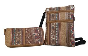 Fino Crossbody Sling Bag & Double Zipper Purse Set 880-161+880+798