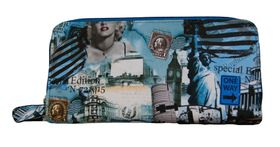 Fino American dream Pu Leather Double Zipper  Purse 505-798