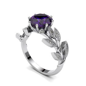 Alluring Amethyst And Diamond Ring - Silver (Ring Size: M)