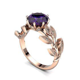 Alluring Amethyst And Diamond Ring - Rose Gold (Ring Size: M)